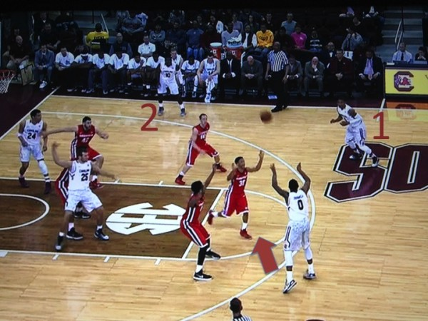 Thornwell has two options and opts for the skip pass to the corner (screen grab via ESPN).