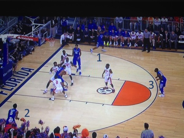 The extra attention on Towns gives three Kentucky guards more than a little space (screen grabs via ESPN).