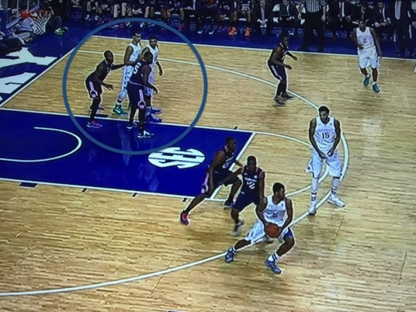 Lyles and Towns line up together on the low block (screen grabs via ESPN).