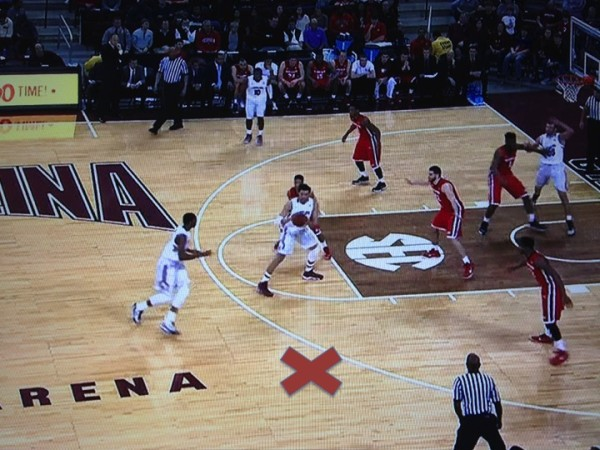 X marks the spot (screen grab from ESPN).