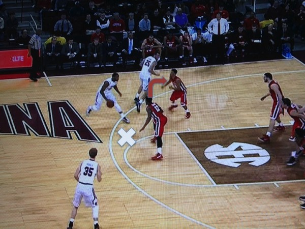 Thornwell causes the defender to make a choice (screen grab via ESPN).