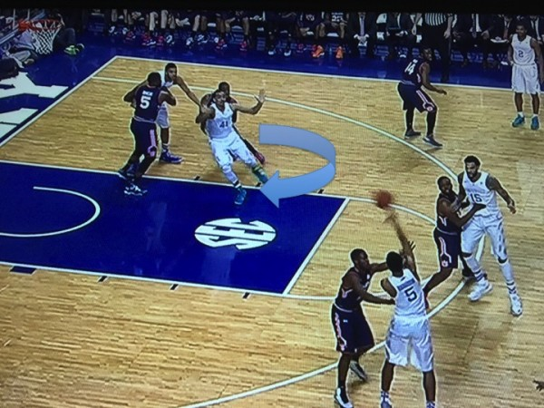 Lyles uses Towns to gain space in the paint (screen grab via ESPN).