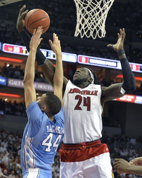Montrezl Harrell grabs one his game-high 15 rebounds in Louisville's big comeback win. (AP Photo/Timothy D. Easley)