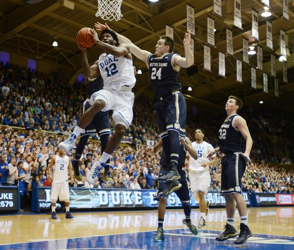 Justise Winslow attacks the basket in Duke's blowout win over Notre Dame. (Photo: Bernard Thomas / The Herald-Sun)