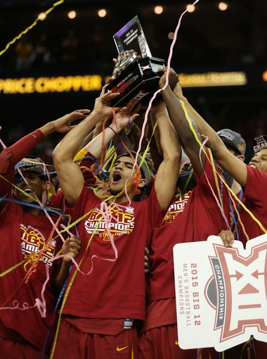 The Cyclones raise another Big 12 Tournament trophy. (Charlie Litchfield/Des Moines Register)