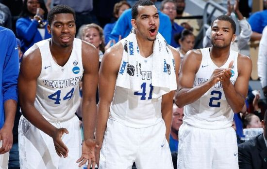 When guys like Dakari Johnson #44, Trey Lyles #41 and Aaron Harrison #2 are sitting on your bench, you know your team is filthy deep. (Photo by Joe Robbins/Getty Images)
