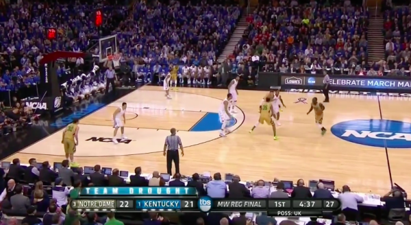 Notre Dame took Kentucky's bigs out of the lane.
