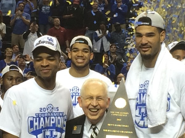 Willie Cauley-Stein and Aaron Harrison celebrate the SEC Championship.