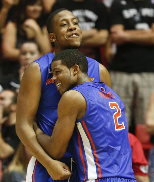 Derrick Marks and Kevin Allen Celebrate The Broncos Win At San Diego State (Lenny Ignelzi, AP Photo)