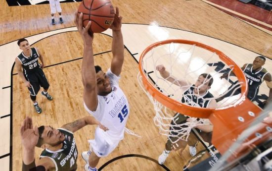 Talk about a bounce back performance - Jahlil Okafor was outstanding against the Spartans. (AP Photo/Chris Steppig, Pool)