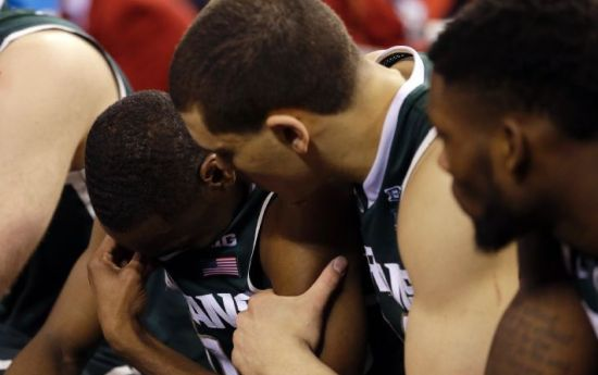 Unfortunately for Michigan State, its incredible tourney run came to an end Saturday evening. (AP Photo/Michael Conroy)