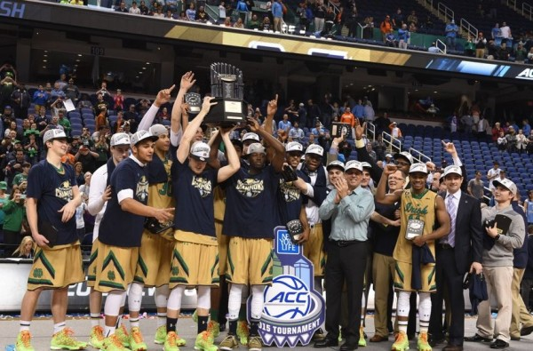 Notre Dame celebrates its first ever conference tournament championship. (Evan Pike/USA TODAY Sports)