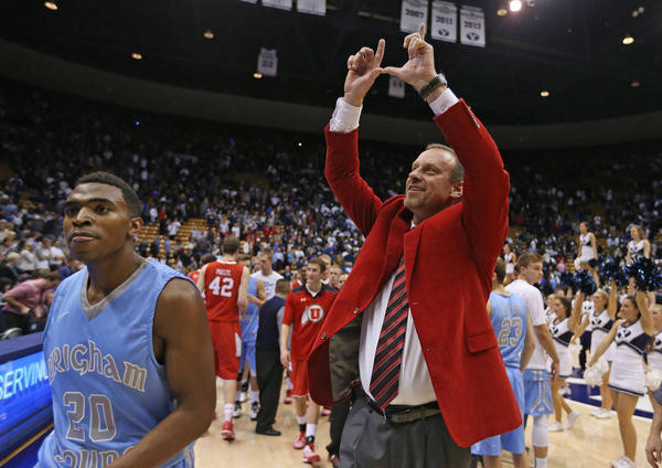 Larry Krystkowiak And The Utes Got To Celebrate On BYU's Home Floor Last Season (Hugh Carey, Deseret News)