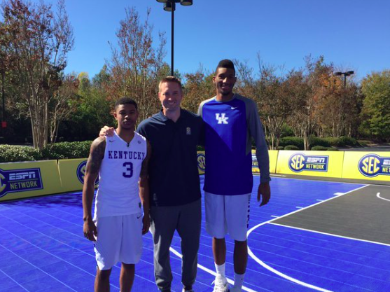 Tyler Ulis and Marcus Lee at #SECTipoff16 (photo credit - CoachCal.com)