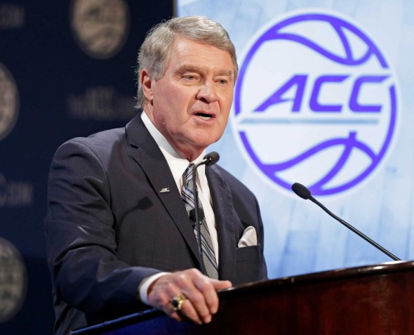 ACC Commissioner John Swofford addressing the media at ACC Operation Basketball. (Chuck Burton, AP)