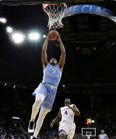 Down the stretch, Kennedy Meeks and UNC had just enough to hold off hometown Kansas State. (AP Photo/Charlie Riedel)