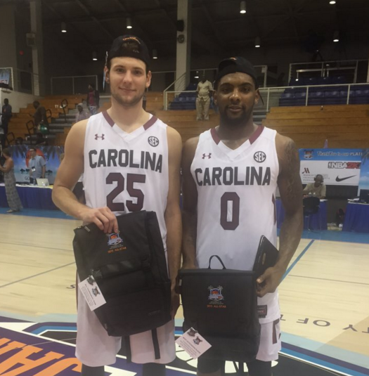 Mindaugas Kacinas and Sindarius Thornwell took home all tournament honors en route to South Carolina's Paradise Jam championship (photo courtesy @GamecockMBB).