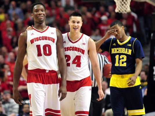Nigel Hayes and Bronson Koenig scored a combined 29 points in last year's thriller against Georgetown (Daivd Banks-USA Today Sports).