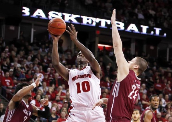 For a second straight season, Nigel Hayes is shooting below 30 percent from the three point line. (Getty).