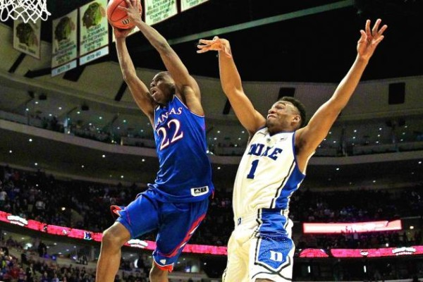The last time Kansas won in the Champions Classic, Andrew Wiggins and Jabari Parker were on the floor. (Getty Images)