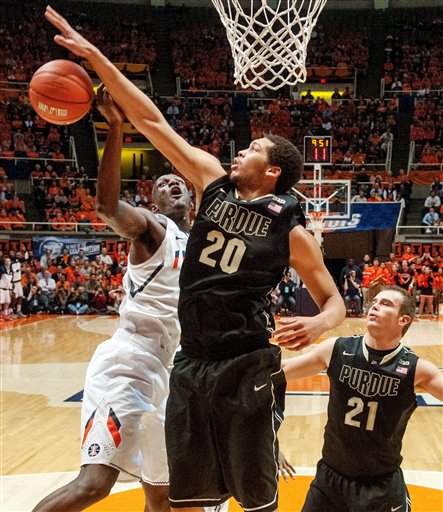 Despite missing two games, AJ Hammons has been a top player in the Big Ten this season. (AP Photo/Darrell Hoemann)