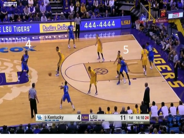 As soon as Labissiere enters, Kentucky changes to a four out one in offensive set.