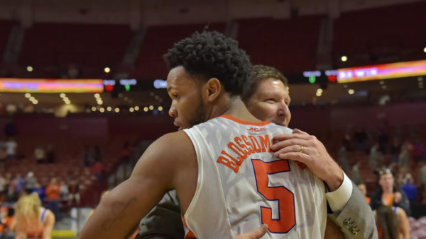 Brad Brownell and Jaron Blossomgame have had plenty to celebrate during Clemson's five straight ACC upset wins. (AP Photo/Richard Shiro)