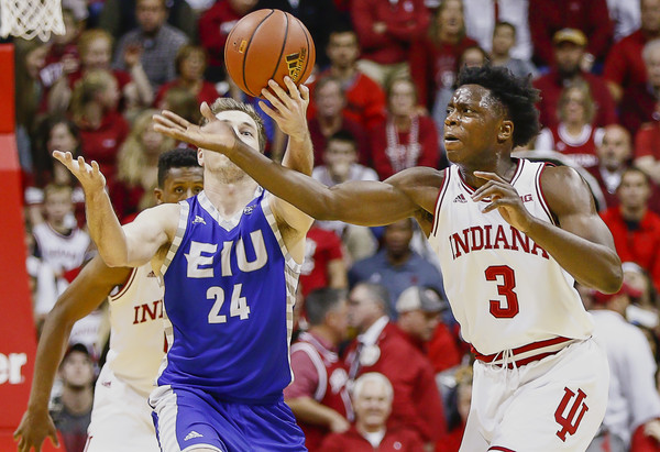 OG Anunoby has become an Indiana fan favorite because of his defense and dunks. (Michael Hickey/Getty Images).