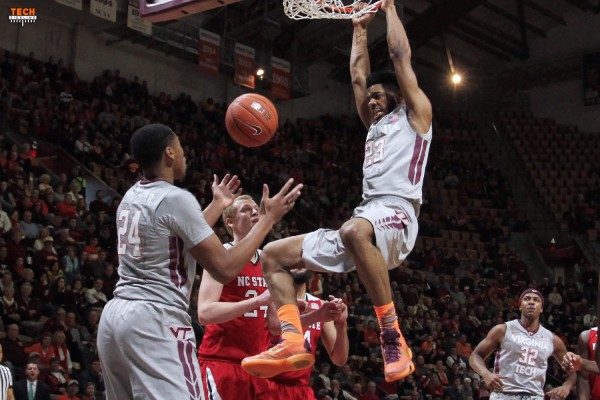 Jalen Hudson dunks for two of his 23 points in Virginia Tech's comeback win. (TechSideline.com)