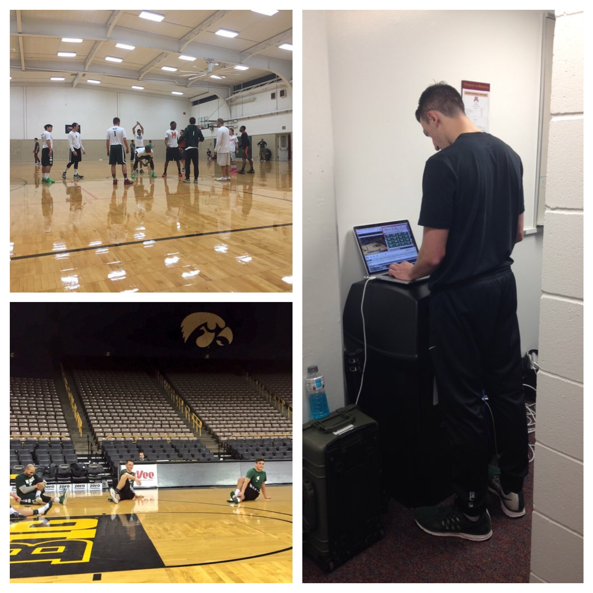 (Top left) - MSU vs. Maryland, #1 is Ian; (Bottom left) - MSU postgame stretch at Iowa; (right) - Andrew Novak using a trash can as a prop to input scores.