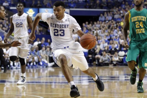 Jamal Murray is great with the ball in his hands, but he struggled defending Wayne Selden in Lawrence on Saturday (photo credit: Mark Zerof, USA Today).