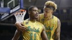 Demetrius Jackson and Zach Auguste celebrate Notre Dame's upset win over North Carolina. (Getty Images)