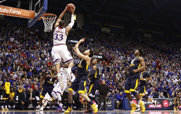 Landen Lucas delivered in Kansas' 75-65 win over West Virginia. (Nick Krug/KU Sports)