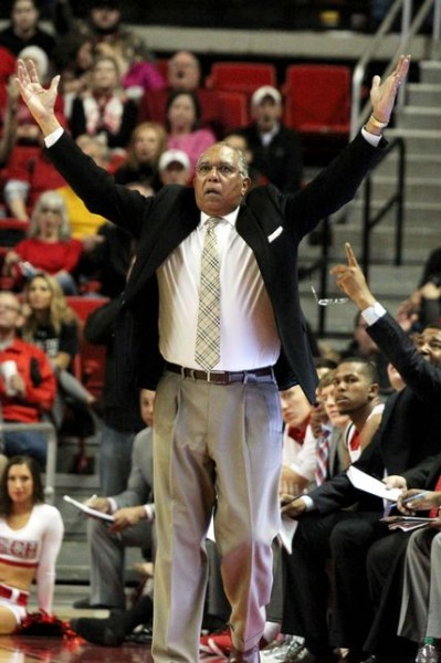 Texas Tech head coach Tubby Smith might have received help from above in last night's upset victory over Iowa State. (Michael C. Johnson/USA TODAY Sports)
