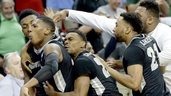 Providence celebrates its last second win over USC. (Fox Sports)