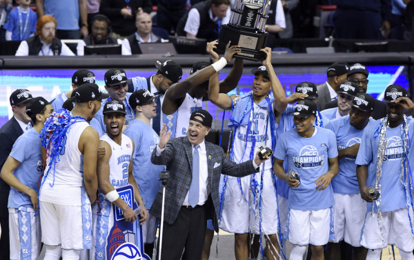 North Carolina celebrates winning the championship game of the 2016 New York Life ACC Tournament in Washington, DC, Saturday, March 12, 2016. (Photo by Liz Condo, theACC.com)