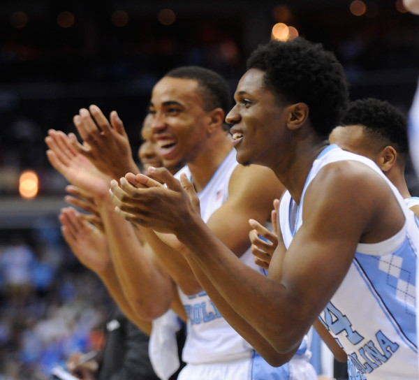 North Carolina guard Kenny Williams (24) cheers from the bench during the semifinals of the 2016 New York Life ACC Tournament in Washington DC, Friday, March 11, 2015. (Photo by Sara D. Davis, theACC.com)