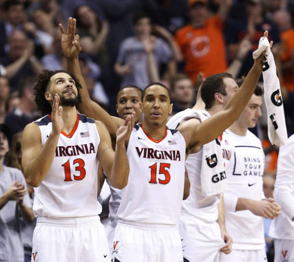 Anthony Gill, Malcolm Brogdon and the rest of the Cavaliers will be excited to stay close to home for rounds one and two. (Photo: AP/Steve Helber)