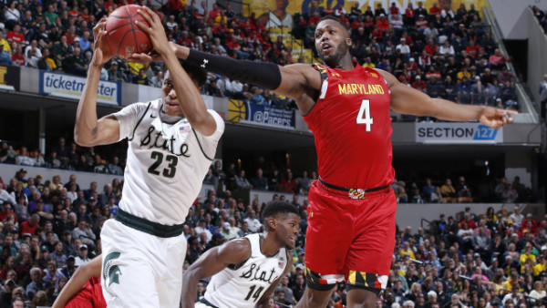 INDIANAPOLIS, IN - MARCH 12: Deyonta Davis #23 of the Michigan State Spartans rebounds against Robert Carter #4 of the Maryland Terrapins in the semifinals of the Big Ten Basketball Tournament at Bankers Life Fieldhouse on March 12, 2016 in Indianapolis, Indiana. (Photo by Joe Robbins/Getty Images)