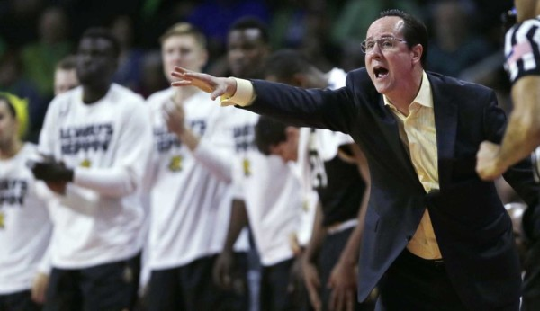 Gregg Marshall calls out to his team during its win over Arizona on Thursday. (Credit: AP/Charles Krupa)