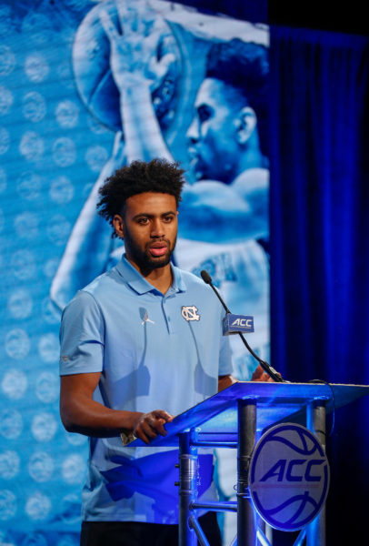 North Carolina's Joel Berry discussed his role as a leader during the 2016 ACC Men's Operation Basketball in Charlotte, N.C., Wednesday, Oct. 26, 2016. (Photo by Nell Redmond, theACC.com)