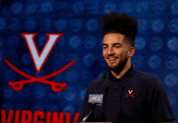 Virginia basketball player London Perrantes answers a question during the 2016 ACC Men's Operation Basketball in Charlotte, N.C., Wednesday, Oct. 26, 2016. (Photo by Nell Redmond, theACC.com)