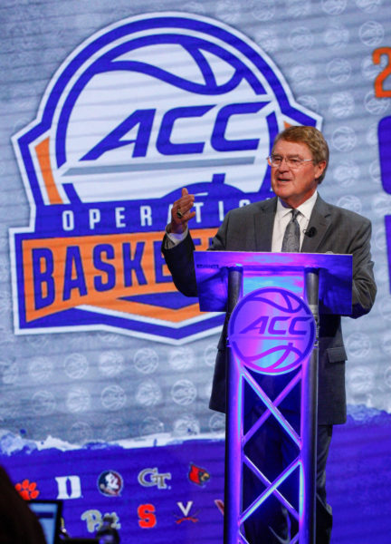 Atlantic Coast Conference commissioner John Swofford speaks at the 2016 ACC Men's Operation Basketball in Charlotte, N.C., Wednesday, Oct. 26, 2016. (Photo by Nell Redmond, theACC.com)