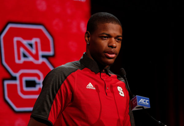 NC State basketball player Dennis Smith, Jr. answers a question during the 2016 ACC Men's Operation Basketball in Charlotte, N.C., Wednesday, Oct. 26, 2016. (Photo by Nell Redmond, theACC.com)