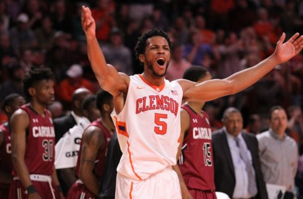 Dec 18, 2015; Greenville, SC, USA; Clemson Tigers forward Jaron Blossomgame (5) celebrates during a timeout in the second half against the South Carolina Gamecocks at Bon Secours Wellness Arena. The Gamecocks won 65-59. Mandatory Credit: Dawson Powers-USA TODAY Sports