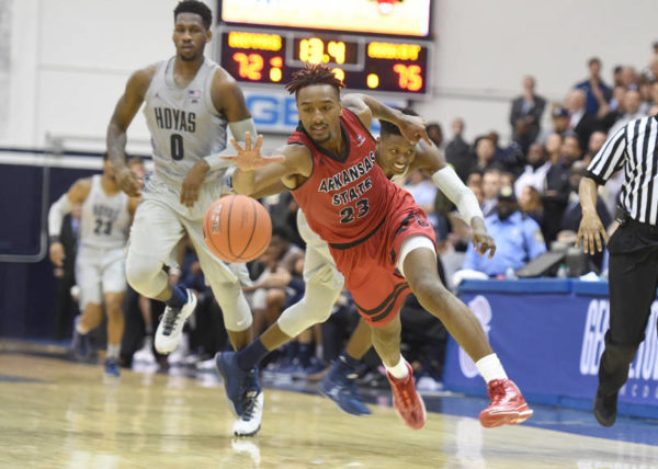 Arkansas State beat both Georgetown and Chattanooga away from home. (Mitchell Layton / Arkansas State Athletics)