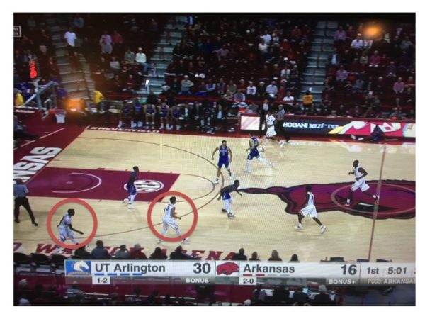 Arkansas puts two shooters into position to launch the long range shot.