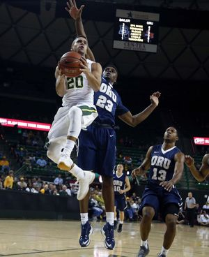 Baylor's Manu Lecomte (#20) had himself a night in Friday night's season opener versus Oral Roberts. (Rod Aydelotte/Waco Tribune-Herald)