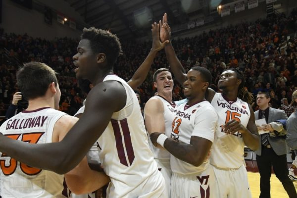 Virginia Tech players celebrate after the Hokies dismantled Duke 89-75 on Saturday in Blacksburg. (Photo: hokiesports.com)